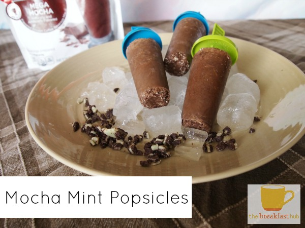 Three Ingridient Mocha Mint Popsicles via thebreakfasthub.com